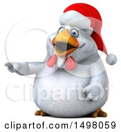 3d Chubby White Christmas Chicken Pointing On A White Background