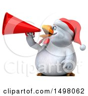 3d Chubby White Christmas Chicken Using A Megaphone On A White Background