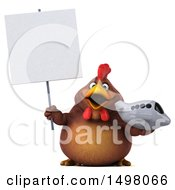 Clipart Of A 3d Chubby Brown Chicken Holding A Plane On A White Background Royalty Free Illustration