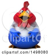 Clipart Of A 3d Chubby French Chicken On A White Background Royalty Free Illustration