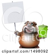 3d Bulldog Holding A Recycle Bin On A White Background