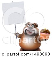 3d Bulldog Holding A Cupcake On A White Background