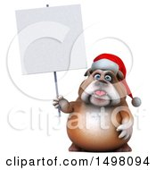 3d Christmas Bulldog Holding A Sign On A White Background