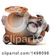 Clipart Of A 3d Bulldog Holding A Pizza On A White Background Royalty Free Illustration
