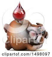 3d Bulldog Holding A Blood Drop On A White Background