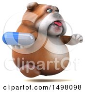 3d Bulldog Holding A Pill On A White Background