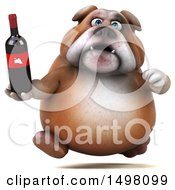 3d Bulldog Holding A Wine Bottle On A White Background