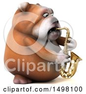 3d Bulldog Playing A Saxophone On A White Background