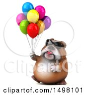 3d Bulldog Holding Party Balloons On A White Background