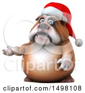 Clipart Of A 3d Christmas Bulldog Presenting On A White Background Royalty Free Illustration
