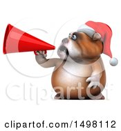 3d Christmas Bulldog Holding A Megaphone On A White Background