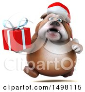 3d Christmas Bulldog Holding A Present On A White Background