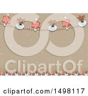 Christmas Reindeer And Star Banner Border Background Over A Cardboard Texture