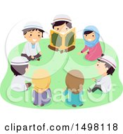 Clipart Of A Group Of Muslim Children Reading The Quran Outdoors Royalty Free Vector Illustration by BNP Design Studio