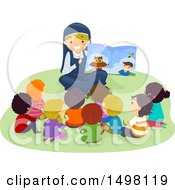 Clipart Of A Happy Nun Reading A Story To A Group Of Children Royalty Free Vector Illustration by BNP Design Studio