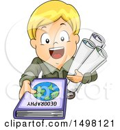 Poster, Art Print Of Boy Holding Up A Geography Book