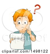Clipart Of A Boy Reading Documents And Thinking Royalty Free Vector Illustration