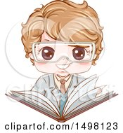 Clipart Of A Boy Wearing Science Lab Goggles And Holding An Open Book Royalty Free Vector Illustration