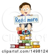 Happy Brunette Boy Holding A Read More Sign On A Stack Of Books