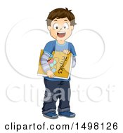 Clipart Of A Brunette Boy Carrying A Physics Book Royalty Free Vector Illustration