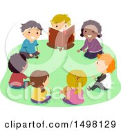 Clipart Of A Group Of Children Reading A Bible Outdoors Royalty Free Vector Illustration