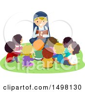 Clipart Of A Happy Nun Reading The Bible To A Group Of Children Royalty Free Vector Illustration