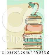 Sketched Lamp On Top Of A Stack Of Books
