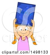 Clipart Of A Girl Holding Up A Fantasy Book Royalty Free Vector Illustration
