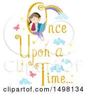 Clipart Of A Girl Reading A Book In A Once Upon A Time Text Design Royalty Free Vector Illustration