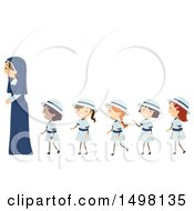 Clipart Of A Happy Nun With A Line Of Girls Royalty Free Vector Illustration by BNP Design Studio