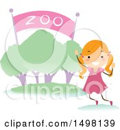 Clipart Of A Happy Girl At A Zoo Entrance For A Field Trip Royalty Free Vector Illustration