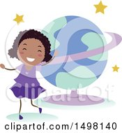Poster, Art Print Of Happy Girl At A Planetarium For A Field Trip