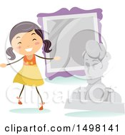 Clipart Of A Happy Girl At A Museum For A Field Trip Royalty Free Vector Illustration