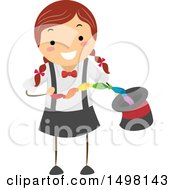 Clipart Of A Girl Performing A Magic Trick With A Scarf And Hat Royalty Free Vector Illustration by BNP Design Studio