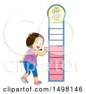 Clipart Of A Girl Marking A Financial Goal Chart Royalty Free Vector Illustration