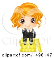 Poster, Art Print Of Business Girl Sitting On A Stack Of Coins