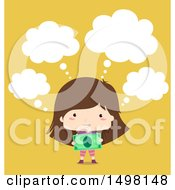 Clipart Of A Happy Girl Thinking And Holding Cash Money Royalty Free Vector Illustration