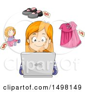 Clipart Of A Girl Shopping On A Laptop Royalty Free Vector Illustration