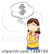 Clipart Of A Girl Thinking About Money Royalty Free Vector Illustration