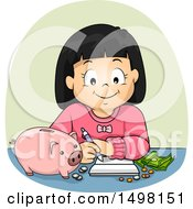 Clipart Of A Girl Budgeting And Planning For Her Savings Royalty Free Vector Illustration