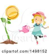 Clipart Of A Girl Watering An Investment Plant Royalty Free Vector Illustration