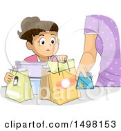Clipart Of A Girl Watching Her Mother Purchase Items With A Credit Card Royalty Free Vector Illustration
