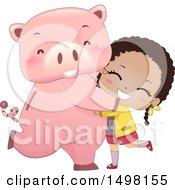 Clipart Of A Happy Girl Hugging Or Dancing With Her Piggy Bank Royalty Free Vector Illustration