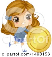 Clipart Of A Girl Rolling A Giant Coin Royalty Free Vector Illustration