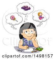 Clipart Of A Girl Daydreaming About What To Spend Her Money On Royalty Free Vector Illustration