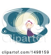 Clipart Of A White Haired Girl Dancing Against A Full Moon Royalty Free Vector Illustration by BNP Design Studio