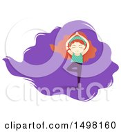 Clipart Of A Red Haired Girl Doing Yoga In The Tree Pose Royalty Free Vector Illustration by BNP Design Studio