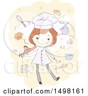 Sketched Chef Girl With Baking Items