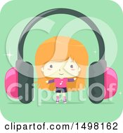 October 12th, 2017: Clipart Of A Girl With A Giant Pair Of Headphones Royalty Free Vector Illustration by BNP Design Studio