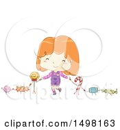 Clipart Of A Sketched Girl Holding Hands With Candy Characters Royalty Free Vector Illustration